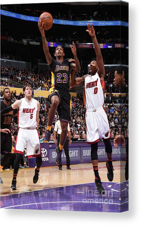 Nba Pro Basketball Canvas Print featuring the photograph Miami Heat V Los Angeles Lakers by Andrew D. Bernstein