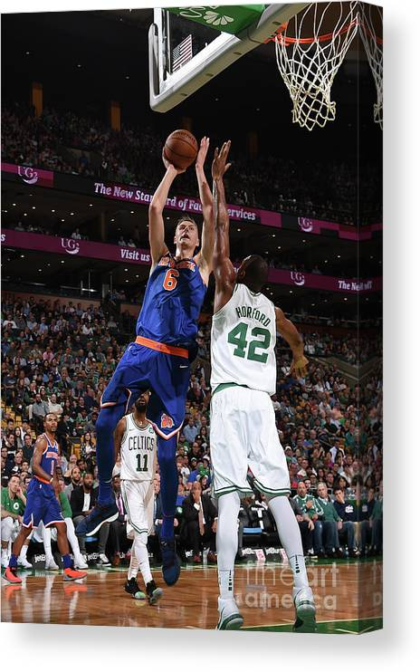 Nba Pro Basketball Canvas Print featuring the photograph New York Knicks V Boston Celtics by Brian Babineau