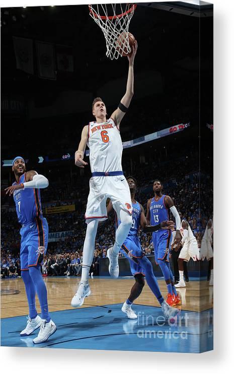 Nba Pro Basketball Canvas Print featuring the photograph New York Knicks V Oklahoma City Thunder by Layne Murdoch
