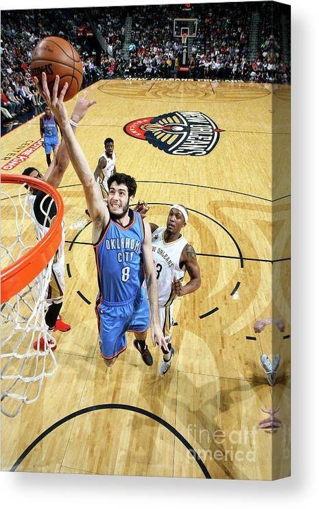 Smoothie King Center Canvas Print featuring the photograph Oklahoma City Thunder V New Orleans by Layne Murdoch