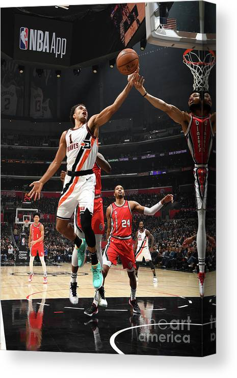 Jerome Robinson Canvas Print featuring the photograph Portland Trail Blazers V La Clippers by Andrew D. Bernstein