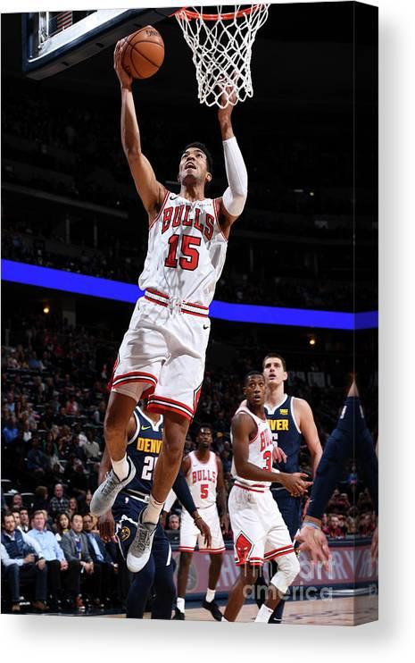Nba Pro Basketball Canvas Print featuring the photograph Chicago Bulls V Denver Nuggets by Garrett Ellwood