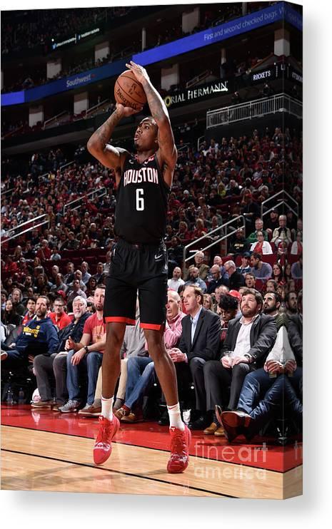 Nba Pro Basketball Canvas Print featuring the photograph Miami Heat V Houston Rockets by Bill Baptist