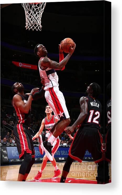 Nba Pro Basketball Canvas Print featuring the photograph Miami Heat V Washington Wizards by Ned Dishman