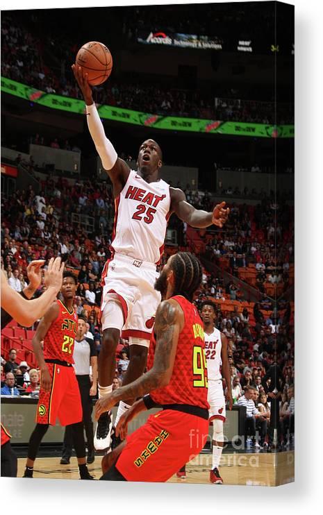 Nba Pro Basketball Canvas Print featuring the photograph Atlanta Hawks V Miami Heat by Oscar Baldizon
