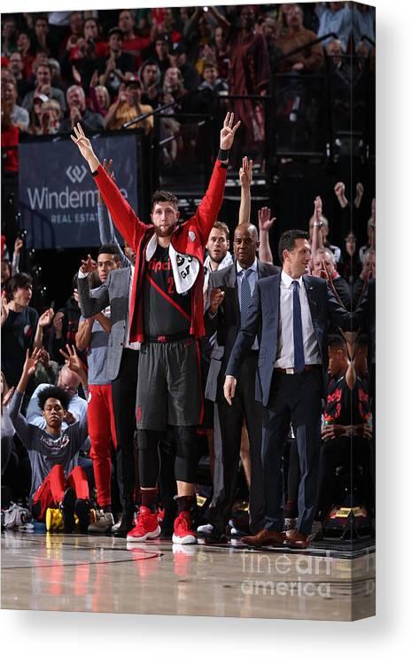 Nba Pro Basketball Canvas Print featuring the photograph Boston Celtics V Portland Trail Blazers by Sam Forencich