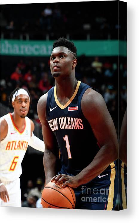 Atlanta Canvas Print featuring the photograph New Orleans Pelicans V Atlanta Hawks by Scott Cunningham