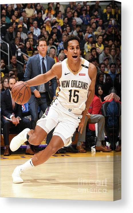 Nba Pro Basketball Canvas Print featuring the photograph New Orleans Pelicans V Los Angeles by Andrew D. Bernstein