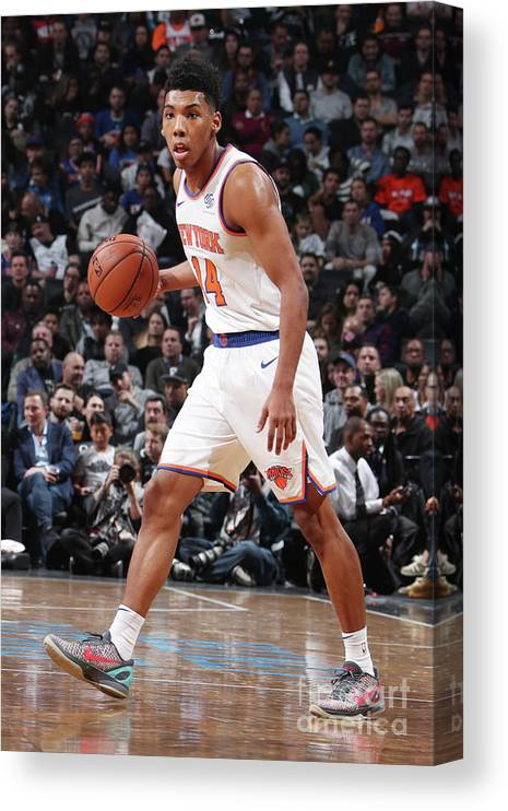 Nba Pro Basketball Canvas Print featuring the photograph New York Knicks V Brooklyn Nets by Nathaniel S. Butler
