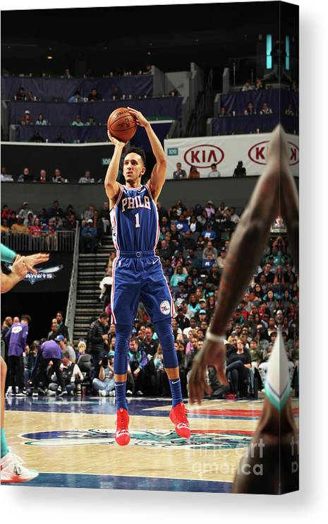 Nba Pro Basketball Canvas Print featuring the photograph Philadelphia 76ers V Charlotte Hornets by Kent Smith