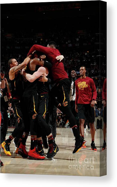 Playoffs Canvas Print featuring the photograph Toronto Raptors V Cleveland Cavaliers - by Jeff Haynes