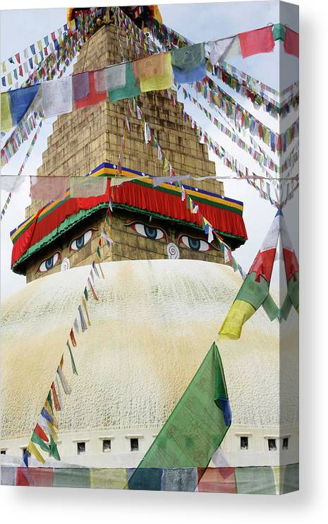 Bodhnath Stupa Canvas Print featuring the photograph 809-885 by Robert Harding Picture Library