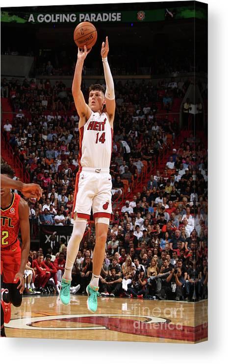 Tyler Herro Canvas Print featuring the photograph Atlanta Hawks V Miami Heat by Oscar Baldizon