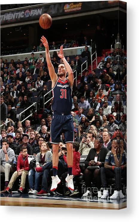 Nba Pro Basketball Canvas Print featuring the photograph Boston Celtics V Washington Wizards by Ned Dishman