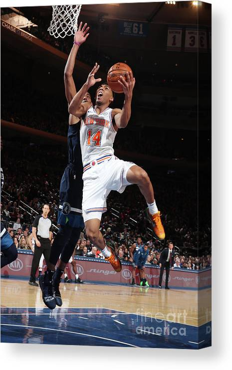 Nba Pro Basketball Canvas Print featuring the photograph Minnesota Timberwolves V New York Knicks by Nathaniel S. Butler