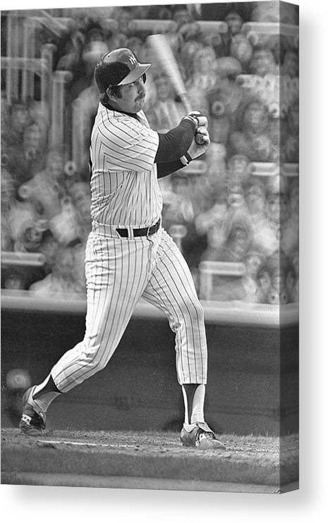 Thurman Munson Canvas Print featuring the photograph New York Yankees by Ronald C. Modra/sports Imagery