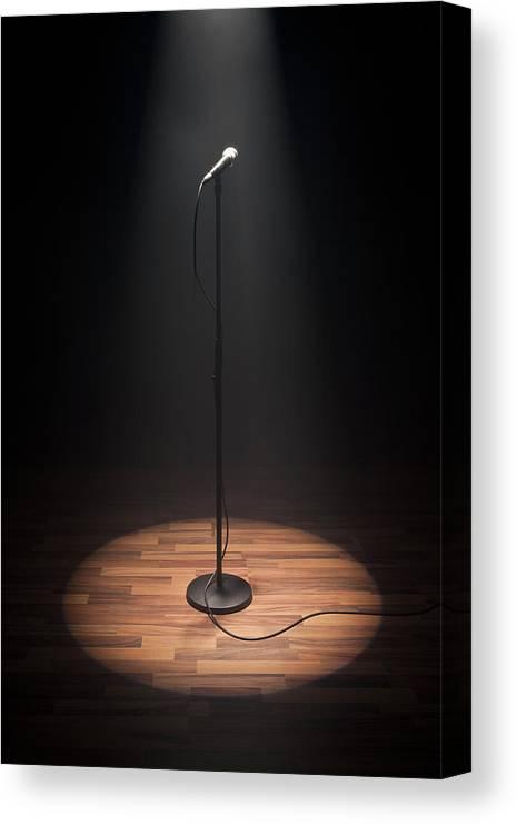 Anticipation Canvas Print featuring the photograph A Spot Lit Microphone by Caspar Benson