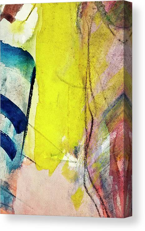 Oil Painting Canvas Print featuring the photograph Abstract Painted Blue And Yellow Art by Ekely