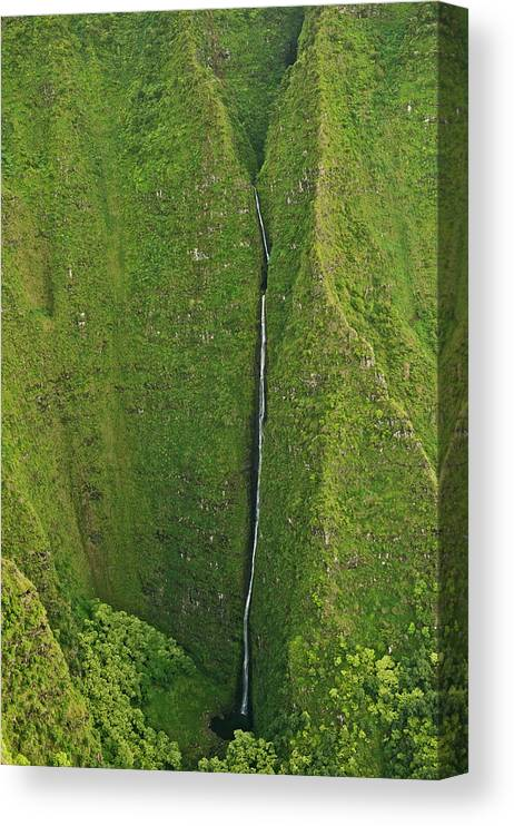 Scenics Canvas Print featuring the photograph Aerial View Of Waterfall In Narrow by Enrique R. Aguirre Aves