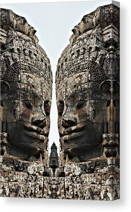 Statue Canvas Print featuring the photograph Angkor Wat, Giant Faces At Bayon Temple by Wilfried Krecichwost