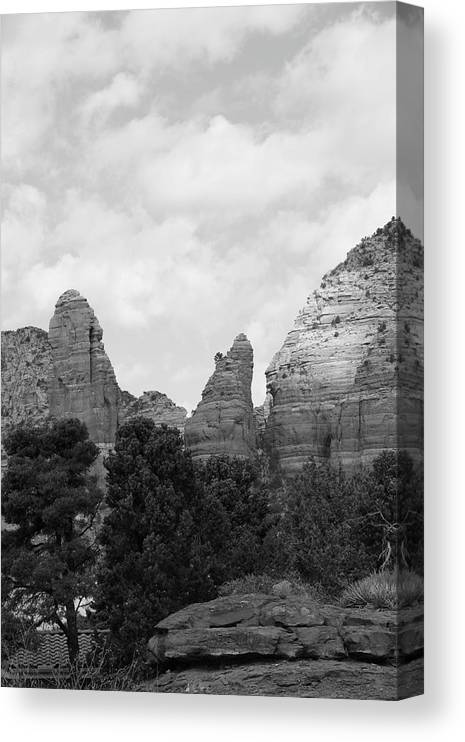 Scenics Canvas Print featuring the photograph Arizona Mountain Red Rock Monochrome by Sassy1902