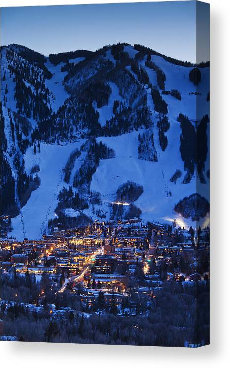 Aspen Canvas Print featuring the photograph Aspen Mountain, Winter by Walter Bibikow