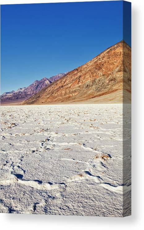 Clear Sky Canvas Print featuring the photograph Badwater Basin Salt Flats, Death Valley by Bryan Mullennix