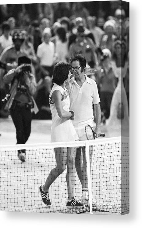 Tennis Canvas Print featuring the photograph Billie Jean King And Bobby Riggs At End by Bettmann