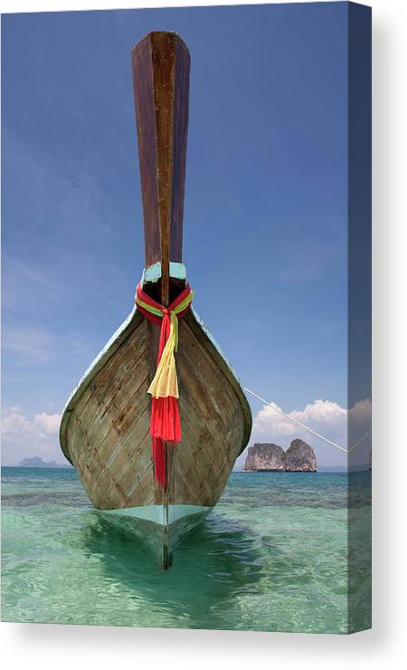 Andaman Sea Canvas Print featuring the photograph Bow Of A Long-tailed Boat, Thailand by Enviromantic