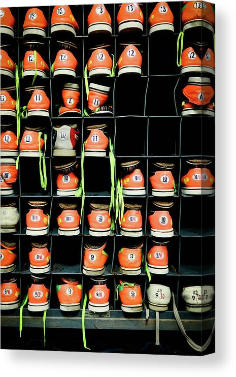 Orange Color Canvas Print featuring the photograph Bowling Shoes by Christian Bird
