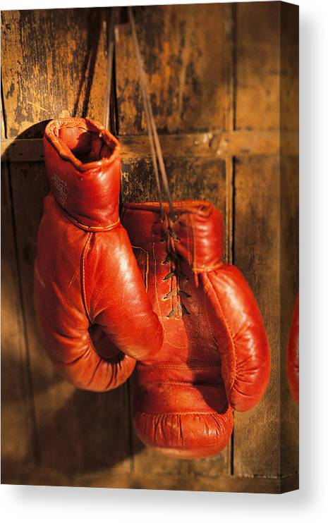 Hanging Canvas Print featuring the photograph Boxing Gloves Hanging On Rustic Wooden by Comstock
