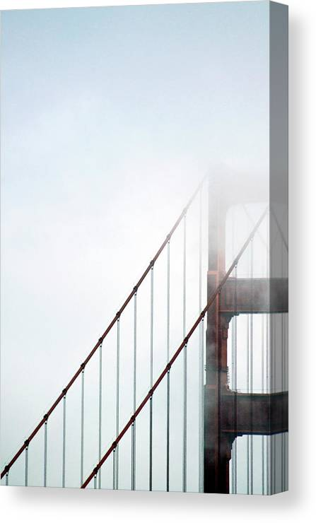 Scenics Canvas Print featuring the photograph Bridge In Fog by By Ken Ilio