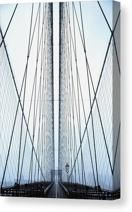 Suspension Bridge Canvas Print featuring the photograph Brooklyn Bridge by Eric O'connell