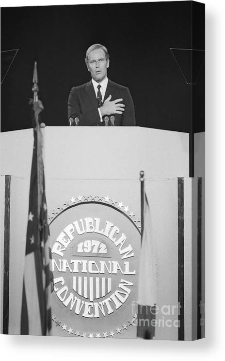 People Canvas Print featuring the photograph Charlton Heston Leading The Pledge by Bettmann
