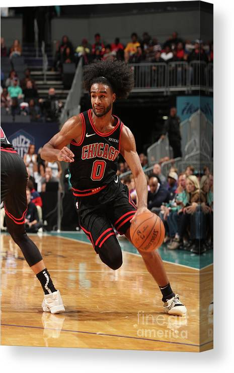 Chicago Bulls Canvas Print featuring the photograph Chicago Bulls V Charlotte Hornets by Kent Smith
