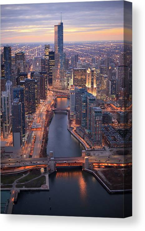 Tranquility Canvas Print featuring the photograph Chicago Downtown - Aerial View by Berthold Trenkel