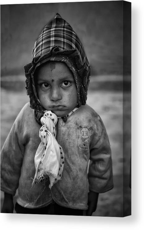 Nepal Canvas Print featuring the photograph Children Of Nepal - Monochrome Portraits by Yvette Depaepe