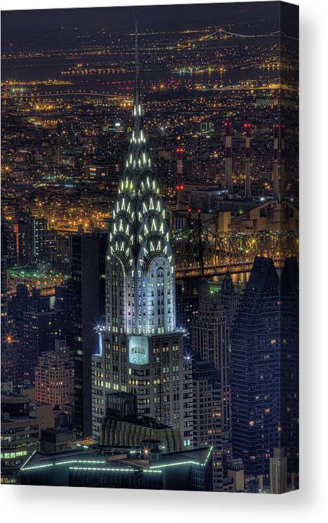 Outdoors Canvas Print featuring the photograph Chrysler Building At Night by Jason Pierce Photography (jasonpiercephotography.com)