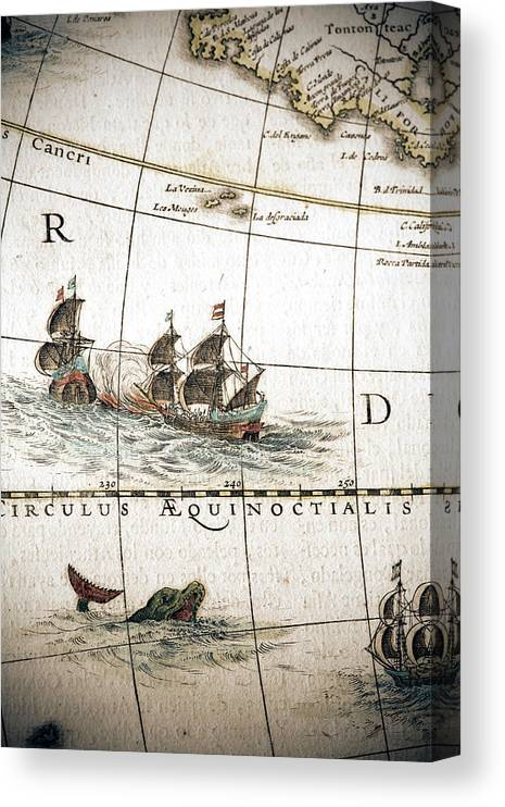 Engraving Canvas Print featuring the digital art Circulus Aequinoctalis, Historical Map by Goldhafen