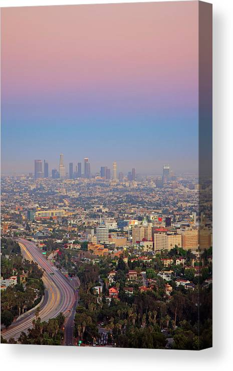 California Canvas Print featuring the photograph Cityscape Of Los Angeles by Eric Lo