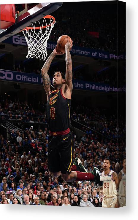 Nba Pro Basketball Canvas Print featuring the photograph Cleveland Cavaliers V Philadelphia 76ers by David Dow