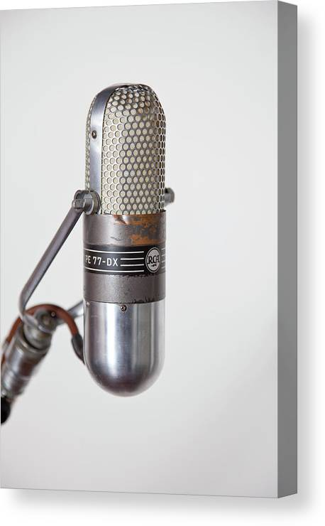 Music Canvas Print featuring the photograph Close-up Vintage Microphone On Stand by Laara Cerman/leigh Righton