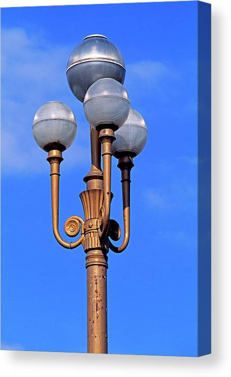 French Riviera Canvas Print featuring the photograph Closeup Of A Lamp by Murat Taner
