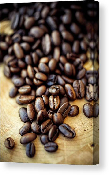 Black Color Canvas Print featuring the photograph Coffee Beans by Chang