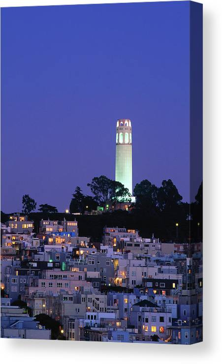 San Francisco Canvas Print featuring the photograph Coit Tower, Telegraph Hill At Dusk, San by Thomas Winz