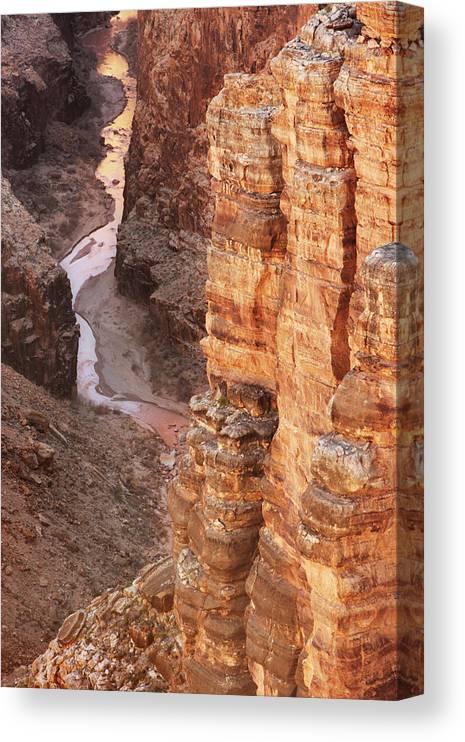 Water's Edge Canvas Print featuring the photograph Colorado River Glen Canyon Gorge by Chuckschugphotography