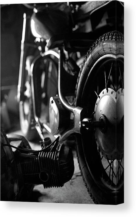 Engine Canvas Print featuring the photograph Custom Motorcycle by Alexey Bubryak
