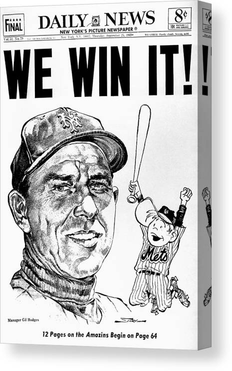 American League Baseball Canvas Print featuring the photograph Daily News. Front Page. Headline, We by New York Daily News Archive
