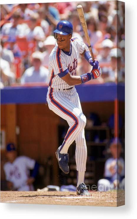 People Canvas Print featuring the photograph Darryl Strawberry Swings by Scott Halleran