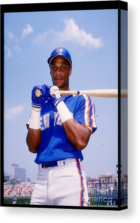 1980-1989 Canvas Print featuring the photograph Darryl Strawberry by Tony Inzerillo